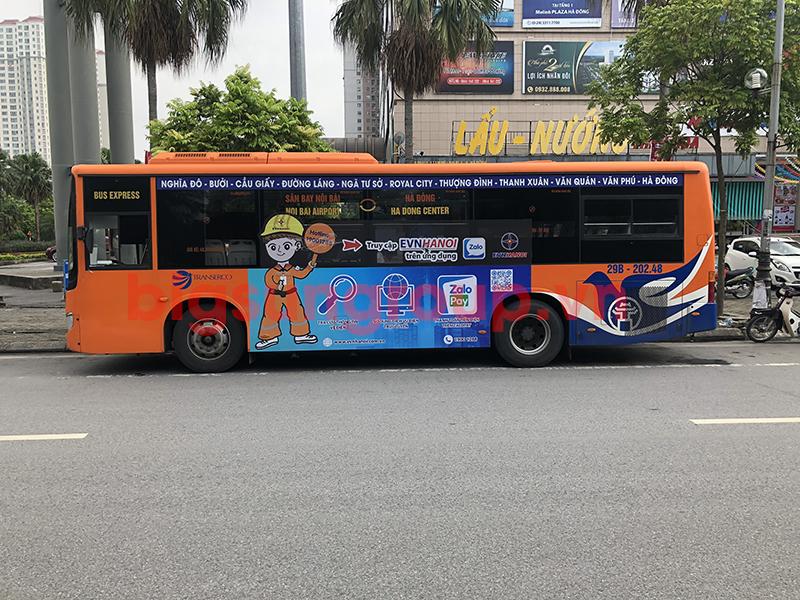 Quảng cáo xe bus nhãn Điện Lực Hà Nội
